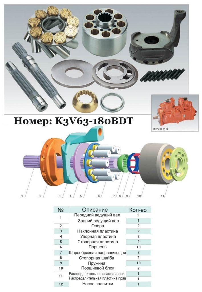 Гидравлический насос Kawasaki K3V63DT